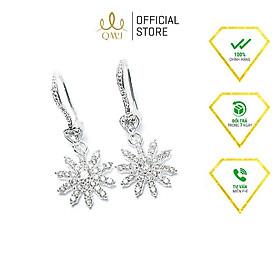 Bông tai bạc QMJ Hoa tuyết nạm đá tấm thiết kế sắc sảo - Q092