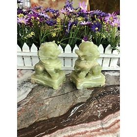 Cặp Kỳ Lân phong thủy đá ngọc Onyx - Cao 12 cm