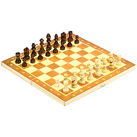 Wooden Chess Set With Folding Chessboard Backgammon Checkers Travel Games Draughts Entertainment Educational Toys