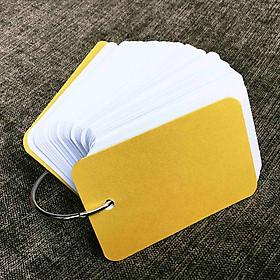 Combo 500 thẻ flashcard trắng siêu dày phong cách mới 5x8cm bo góc giữa tặng khoen + bìa cứng 3D