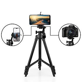 Giá đỡ tripod 3 chân xoay ngang dọc hỗ trợ chụp ảnh, livestream nhẹ gọn tặng kèm đầu kẹp điện thoại 2 lỗ chắc chắn