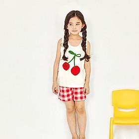 Bộ đồ ngắn mặc nhà bé gái Unifriend Hàn Quốc UniN04 cho bé 1-10 tuổi. Vải cotton organic Korea. Hàng chính hãng