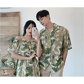Set đồ đôi váy nữ hở vai áo sơ mi nam cổ V Hàn Quốc couple AV55