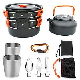 Outdoor Camping Teapot Suits Cookware Pot Sets Portable Picnic Cooking Set