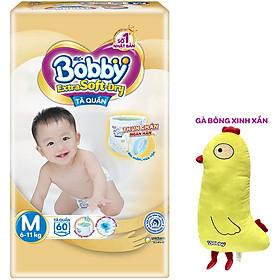 Tã Quần Cao Cấp Bobby Extra Soft Dry Thun Chân Ngăn Hằn M60 (60 Miếng) - Tặng 1 Gà Bông Xinh Xắn