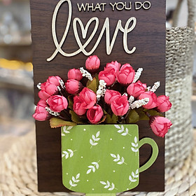 Bảng Gỗ hoa treo tường trang trí Love