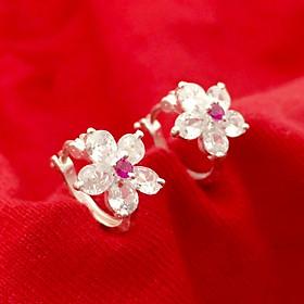 Bông tai nữ Bạc Quang Thản kiểu khuyên gắn đá cobic màu trắng đeo sát tai, chất liệu bạc thật không xi mạ, phong cách cá tính phù hợp với mọi lứa tuổi - QTBT44