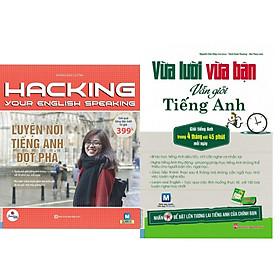 Combo 2 cuốn Vừa lười vừa bận vừa giỏi tiếng anh+ hacking Luyện nói tiếng anh đột phá( tặng 1 giá đỡ iring cute)