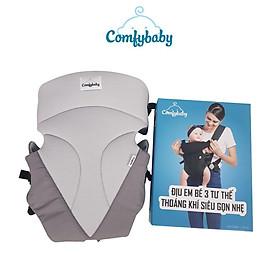 Địu em bé 3 tư thế có đỡ cổ sơ sinh - THOÁNG KHÍ-CHỐNG GÙ cho bé ComfyBaby CF-BK010 siêu gọn nhẹ - bảo hành 12 tháng