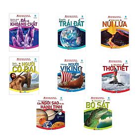 Combo 8 quyển Bách khoa tri thức về khám phá thế giới cho trẻ em chủ đề: Các ngôi sao và hành tinh + Đá và khoáng chất + Trái đất + Núi lửa + Người cổ đại + Người Viking + Bò sát + Thời tiết + Các ngôi sao và hành tinh