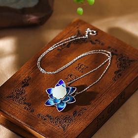 Mặt vòng cổ  ngọc bích hoa sen xanh  NSVC105