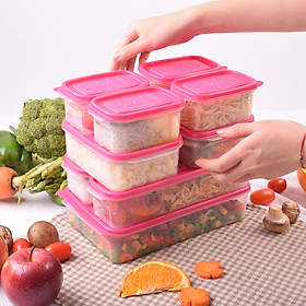 Set 9 hộp nhựa đựng thực phẩm Hàn Quốc -  Set 07 - Màu Hồng