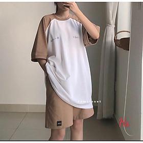 Bộ Đùi Áo Phông In Chữ Hàn Zaclang - Set thể thao uzzlang unisex áo thu tay lỡ chất cotton form rộng quần cộc T M Store