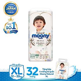 Tã quần Moony Natural XL32 tặng hộp 4 miếng tã quần Moony Natural XL