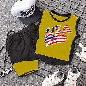 Bộ quần áo thể thao sát nách cho bé trai, bé gái mặc được (Màu Vàng)
