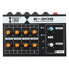 Xtuga E-208 siêu nhỏ tiếng ồn thấp 8 kênh kim loại đơn âm thanh stereo Mixer với cáp điện