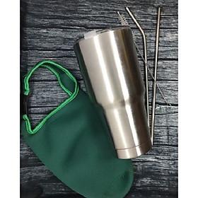BÌNH GIỮ NHIỆT THÁI LAN 900ml + Túi đựng (màu ngẫu nhiên) + 2 ống hút + cọ vệ sinh ống hút
