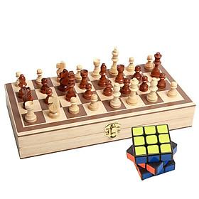 Bộ Cờ Vua Quốc Tế Bằng Gỗ Tự Nhiên Tặng Kèm Rubic Xoay