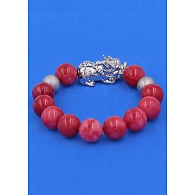 Chuỗi đeo tay Đá Hồng Ngọc 14 ly Mix phụ kiện Tỳ Hưu inox bạc VHNTHHBT14 - hợp mệnh Hỏa, mệnh Thổ - vỏng đeo tay size lớn