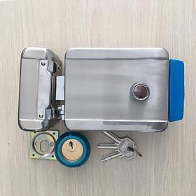 Khóa cổng điện tử độc lập dùng chìa cơ, mở cửa từ xa dùng nút nhấn