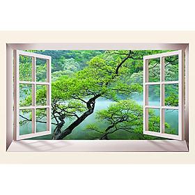 Tranh cửa sổ 3d| Tranh dán tường cửa sổ phong cảnh 3d 45