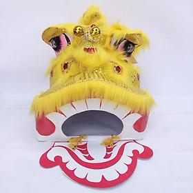 Đầu lân trung thu có đèn cỡ trung 40cm x 35cm x 35cm - màu vàng