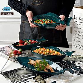 Gold Phnom Penh Irregular Fish Shape Ceramic Plate Fish Tray Green Porcelain Dinner Plate Salad Soup Rice Bowl Serving Platter