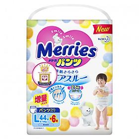 Bỉm - Tã quần Merries cộng miếng size L 44+6