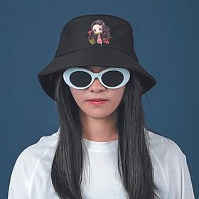 Mũ bucket đen IN HÌNH Nezuko Kamado Demon Slayer - Thanh Gươm Diệt Quỷ anime chibi