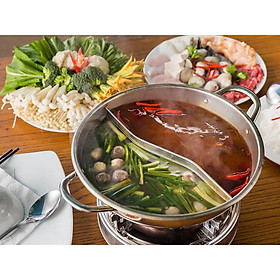 Nồi Lẩu INOX 2 Ngăn Dùng Cho Bếp Từ, Bếp Hồng Ngoại, Bếp Ga Đa Năng - Size Lớn 32cm