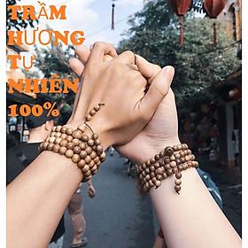 Combo Vòng chuỗi đeo tay đôi Trầm Hương Nam Nữ 108 hạt, kèm hộp đựng lót Nhung, Lụa