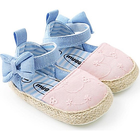 WEIXINBUY Newborn Baby Princess Shoes Girls Mary Jane First Walker Cowboy Blue Bow Bebe Ballet Dress Walking Shoe Soft Soled