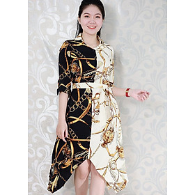 Đầm Xòe Công Sở  Vạt Nhọn Kiểu Đầm Cách Điệu Màu  In Họa Tiết GOTI 3125