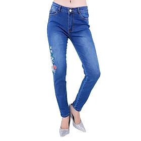 Quần Jeans Nữ Thêu Hoa Và Chim Hạc JNT003