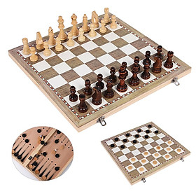 Wood Chess Set Portable Game Of Chess Checkers Backgammon Folding Chess Game