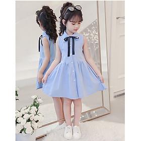 váy đầm trẻ em dáng xòe màu xanh ankids35