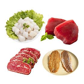 Combo 18: 500gr cồi sò điệp VN 60 - 80 + 500gr cá ngừ cắt lát +500gr lõi vai bò Mỹ cắt lát + 500gr khô cái mối tẩm gia vị đặc biệt.