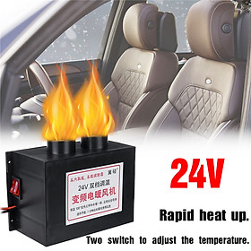 (For DC24V-Double Air Vent Outlet)700W Adjustable Turbo Silent Fan Heater Warmer Window Windscreen Defroster Demister For Car Truck Van Tricycle Tower Crane Forklift Auto Vehicle