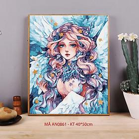 Tranh tô màu theo số AN0861 Tranh sơn dầu số hóa Cô gái thiên thần