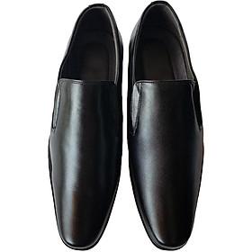 Giày Tây Nam Da Bò Không Dây Buộc Thời Trang Màu Đen - TC03636