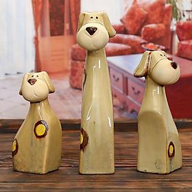 Bộ 3 tượng chú chó để bàn dễ thương - CDB01