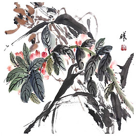 Tooarts Dance in the Spring Sun Chinese Flower Painting Wall Art Artist Hand-Painted Chinese Brush Painting Traditional