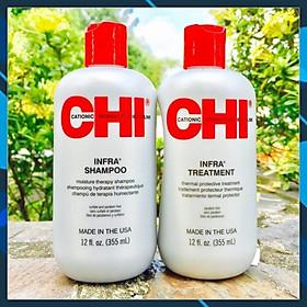 Cặp dầu gội xả CHI Infra shampoo & treatment siêu mượt cho tóc khô hư tổn (xám) USA 355ml