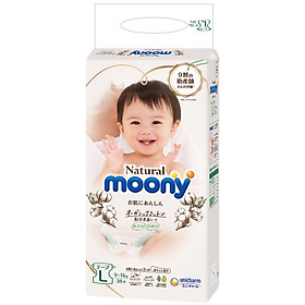 Bỉm dán Moony Natural nội địa Nhật size L 38 miếng (9-14kg)