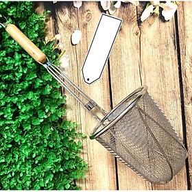 VỢT TRỤNG HỦ TIỂU MÌ BÚN PHỞ - INOX Cán GỖ dài 50cm - CHUẨN SIÊU PHẨM. Đa Năng dùng làm Vợt lưới Lược, lọc rây, rổ có tay cầm cán gỗ. Phù hợp Nhà Hàng, Quán ăn