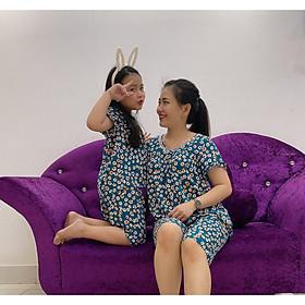 Bộ tole lanh cổ V thoáng mát cho mẹ và bé gái