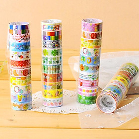 Set 10 cuộn băng keo trang trí đủ họa tiết hoạt hình nhiều màu sắc đáng yêu – H023