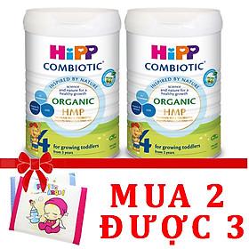 Combo 2 lon Sữa bột Hipp số 4 Organic Combiotic HMP 800gr Mẫu Mới tách tem tặng gối thoáng khí Fralin