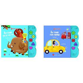 Combo 2 cuốn sách kích thích giác quan của bé: Sách âm thanh - Âm thanh của các loài vật + Sách âm thanh -  Âm thanh phố phường
