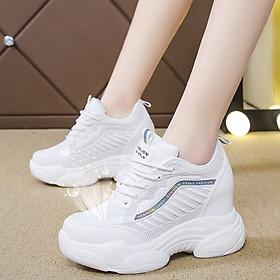 Giày thể thao nữ Sneaker nữ độn đế vạch sóng , chất liệu vải mềm mại êm chân